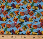 Cotton Construction Zone Road Work Ahead Work Zone Caution Trucks Cotton Fabric Print by the Yard (DP23262-44MIDBLUEMULTI)