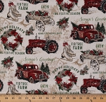 Cotton Antique Cars Wreathes Tractors Seasons Greetings Vintage Christmas Cotton Fabric Print by the Yard (23546-12)