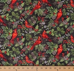 Cotton Cardinals Red Birds Plants Pine Cones Multi-Color Cotton Fabric Print by the Yard (23474-96)
