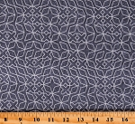 Cotton Geometric Shapes Patterned Metallic Gray Almost Blue by Libs Elliot Cotton Fabric Print by the Yard (A-9351-MC)