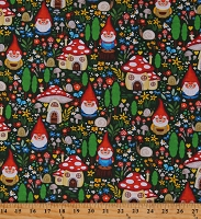 Cotton Gnome Garden Gnomes Mushroom Houses Snails Flowers Mushrooms Trees Green Cotton Fabric Print by the Yard (DC9605-GREE-D)