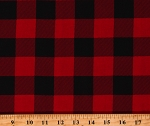 Cotton Red and Black Buffalo Plaid Buffalo Check Squares Cotton Fabric Print by the Yard (9360T-1E)