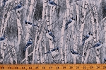 Cotton Winter Forest Woods Scene Bluejays Birds Snowy Birch Trees Cotton Fabric Print by the Yard (BIRD-C7851-BLUE)