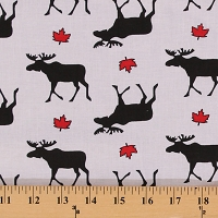 Cotton Canada Moose Canadian Maple Leaf Leaves White Cotton Fabric Print by the Yard (2316M-5N)