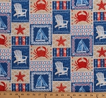 Cotton Beach Motifs Adirondack Deck Chairs Anchors Seahorses Crabs Starfish Sailboats Nautical Shoreline Cotton Fabric Print by the Yard (50110)