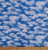Cotton Landscape Fluffy White Clouds in Blue Sky Nature Summer Spring Everyday Favorites Cotton Fabric Print by the Yard (SRKD-19240-216 CLOUD)