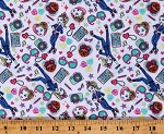 Cotton JoJo Tech Toss Ipads Cameras Sunglasses Stars Hearts Music Notes White Cotton Fabric Print by the Yard (73323-A620715)