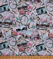 Cotton Paris France Travel Bikes Flowers Sights Post Cards Multicolor Cotton Fabric Print by the Yard (ERA-C8066-MULTI)