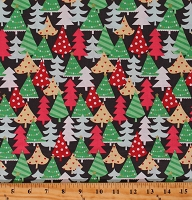 Cotton Christmas Trees Holiday Winter Vintage-look Retro Tree Metallic Gold Cotton Fabric Print by the Yard (CM8020-EVER-D)
