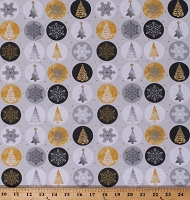 Cotton Ornaments Snowflakes Christmas Tree Holiday Metallic Forest Gold Silver Shimmer Glitter Light Gray Cotton Fabric Print by the Yard (13912-LTGRAY)