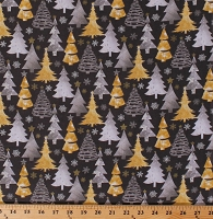 Cotton Christmas Trees Pines Firs Snowflakes Snow Allover on Dark Gray Metallic Forest Shimmer Holiday Cotton Fabric Print by the Yard (13908-GRAY)