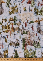 Cotton Christmas Village Snowy Winter Scenic Buildings Churches Bridges Holiday Cotton Fabric Print by the Yard (HOLIDAY-C6952-SNOW)