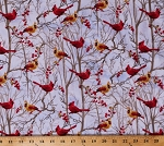Cotton Winter Cardinals Birds Redbird Trees Branches Berries Festive Holiday Cotton Fabric Print by the Yard (DONA-C4265-SNOW)