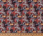 Cotton Route 66 Highway Signs Country American Road Trip Travel Transportation Patriotic Gas and Route Red Blue Cream Cotton Fabric Print by the Yard (23118-24r)