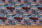 Cotton Route 66 Classic Cars Motorcycle American Road Trip Travel Patriotic Cars and Cycles Red Blue Cream Cotton Fabric Print by the Yard (DP3115-43)