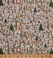 Cotton Merry Christmas Joy Noel Happy Holidays Words Metallic Gold Cotton Fabric Print by the Yard (S7705-206NATURALGOLD)