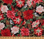 Cotton Poinsettias Christmas Chickadees Holidays Winter Flowers Birds Metallic Gold Cotton Fabric Print by the Yard (2477M-99)