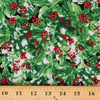 Cotton Winter Berries Green Christmas Holiday Cotton Fabric Print by the Yard (NATURE-C7871-GREEN)