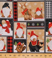 Cotton Garden Gnomes Winter Scenes Patchwork Squares Reindeer Snowman Northwoods Timber Gnomies Christmas Holiday Cotton Fabric Print by the Yard (09269-89)