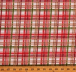 Cotton Winter Forest Red Green Brown Plaid on White Cotton Fabric Print by the Yard (16651-WHT-CTN-D)