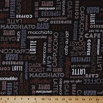 Cotton Coffee Dark Roast Cafe Coffee Shop Names Barista Coffee Types Words Mocha Grande Espresso Cafe Latte Americano Cotton Fabric Print by the Yard (51176-1)