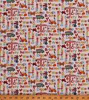 Cotton Kids Construction Vehicles Phrases Childrens Playroom My Favorite Trucks Cotton Fabric Print by the Yard (2208-1)