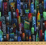 Cotton New York City Lights Buildings at Night NYC The Big Apple Cotton Fabric Print by the Yard (GAIL-C7331-BLACK)