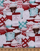 Cotton Hot Chocolate Cocoa Christmas Holiday Peppermint Mugs Cups of Cocoa Red/White Cotton Fabric Print by the Yard (3017-27572-341)