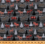 Cotton Northwoods Moose Bears Plaid Animals Christmas Rustic Journey Gray Cotton Fabric Print by the Yard (01649-11)
