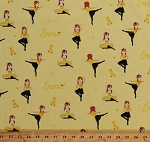 Cotton Ballerinas Ballerina on Yellow The Wiggles Music Group Kids Ready Steady Wiggle! Cotton Fabric Print by the Yard (C8542-YELLOW)