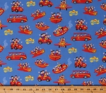 Cotton The Wiggles Tour Bus Big Red Car Plane Vehicles Music Group Musicians Kids Ready Steady Wiggle! Blue Fabric Print by the Yard (C8541-BLUE)