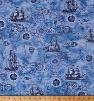 Cotton Nautical Vintage Tall Ships Water Sailing Sailors Compass Maps Seashells Maritime Ocean Blue Cotton Fabric Print by the Yard (BEACH-C6659-OCEAN)