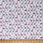 Cotton Llamas Wearing Clothes Alpacas Animals Mexican Clothing White Cotton Fabric Print by the Yard (15297-W)