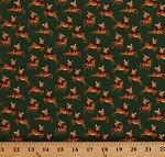 Cotton Holiday Cute Deer Fawns on Green Woodland Animals Christmas Merry and Bright Cotton Fabric Print by the Yard (C8394-GREEN)