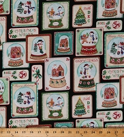 Cotton Happy Holidays Snowmen Snow globes Christmas Winter Seasons Greetings Festive Cotton Fabric Print by the Yard (04576-12)