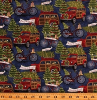 Cotton Christmas Tree Farm Christmas Trees Merry and Bright Joy to the World Jingle all the Way Hauling the Tree Blue Cotton Fabric Print by the Yard (16628-BLU-CTN-D)