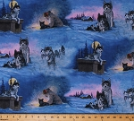 Cotton Alaska Scenes Huskies Siberian Husky Sled Dogs Mushing Snow Winter Collection of Alaska Cotton Fabric Print by the Yard (26786-BLU1)