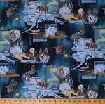 Cotton State of Alaska Map Motifs Animals Wildlife Sled Dogs Huskies Moose Northwoods Cabins Scenes Jon Van Zyle Cotton Fabric Print by the Yard (00101-B)