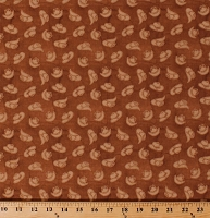 Cotton Cowboy Hats Allover on Brown Western Legend Rancher Farm Country Equestrian Out West Cotton Fabric Print by the Yard (B-9273-35)