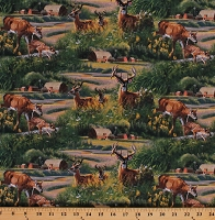Cotton Deer Farm Country Scene Buck Fawns Wild Animals Nature Barns Fields WW Feast in Wood Scenic Cotton Fabric Print by the Yard (66449-A620715)