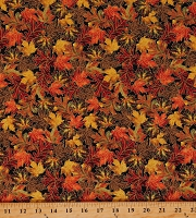 Cotton Fall Harvest Leaves Trees Golden Colors Thanksgiving Multicolor Cotton Fabric Print by the Yard (HARVEST-CM8547-BLACK)