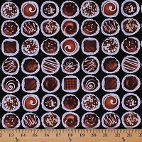 Cotton Oh Fudge! Chocolate Truffle Candy Food Sweets Cotton Fabric Print by Yard (08350-12)