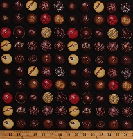Cotton Chocolates Chocolate Candy Candies Sweets Treats Desserts Food Cotton Fabric Print by the Yard (FOOD-C7167-CHOCOLATE)