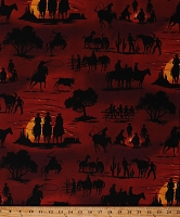 Cotton Cowboys Horses Bulls Sunset Silhouettes Cactus Western Wild West Southwest American Heritage 2 Cotton Fabric Print by the Yard (ETJ-6336-206SUNSET)