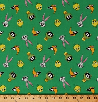 Cotton Looney Tunes Tossed Faces on Green Tweety Bird Bugs Bunny Daffy Duck Marvin the Martian Kids Children's Cartoon Characters Cotton Fabric Print by the Yard (23600107-03)