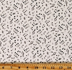 Cotton Musical Notes Jazz Music Lover Pianist Instruments Cream Cotton Fabric Print by the Yard (148CREAM)