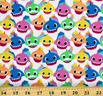 Cotton Baby Shark Song Colorful Sharks Fish Animals Kids Cotton Fabric Print by the Yard (73760-A620715)