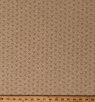 Cotton Kansas Troubles Milestones Flowers Small Scale Floral Tan Tonal Cotton Fabric Print by the Yard (9615-11)