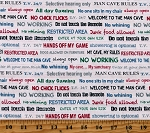 Cotton Man Cave Mancave Dads Guys Words Phrases Cream Cotton Fabric Print by the Yard (52414-4)