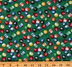 Cotton Billiards Billiard Balls Games Game Night Man Cave Green Cotton Fabric Print by the Yard (52412-3)